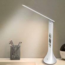 Led desk lamp dobrável pode ser escurecido toque tipo candeeiro de mesa com calendário temperatura despertador luz da mesa luzes da noite