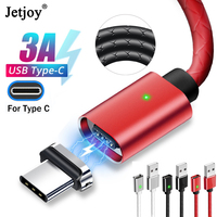 Jetjoy Type C Magnetic Cable USB C 3A Fast Charger Phone Lead Cord For Samsung S8 S9 LG Xiaomi For Huawei Mate 20 Pro P20|Mobile Phone Cables|Cellphones & Telecommunications -