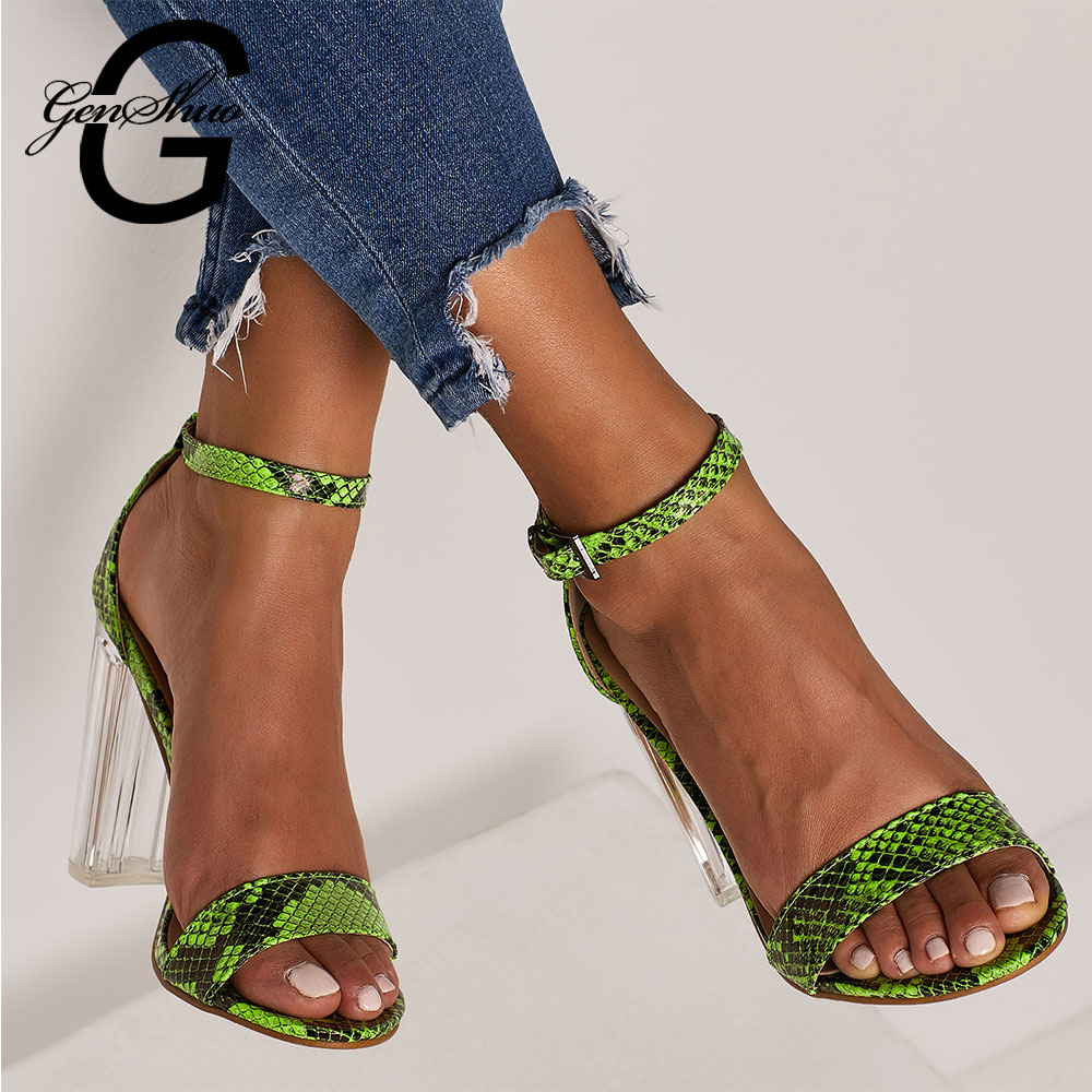 Shoes Ambitious Genshuo 2019 Women Sandals Shoes Clear Transparent Ankle Strappy Buckle Sandals High Heels Shoes Woman Snake Printing Sandalias