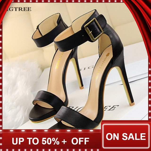 03d21b5758d55 Aliexpress.com : Buy Summer Heel Women High Heels Sandals Ankle Strap  Buckle black Sexy Thin Ladies Sandal Leather women's High heeled Shoes  G1408 2 from ...