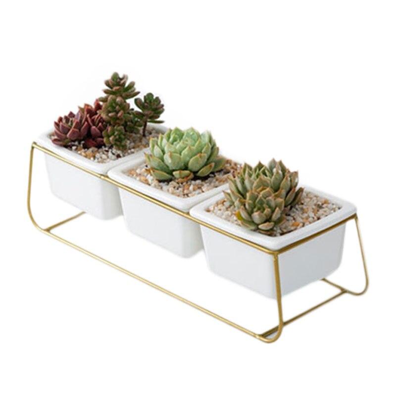 Nordic Ceramic Succulent Flower Planter Pot AND Iron Pot Shelf Garden Decor Hot
