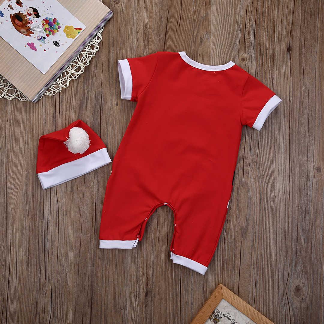 2018 nuevo bebé recién nacido bebé niña Xmas mameluco mono + sombrero 2 piezas conjunto Navidad Santa Claus disfraz trajes de mono