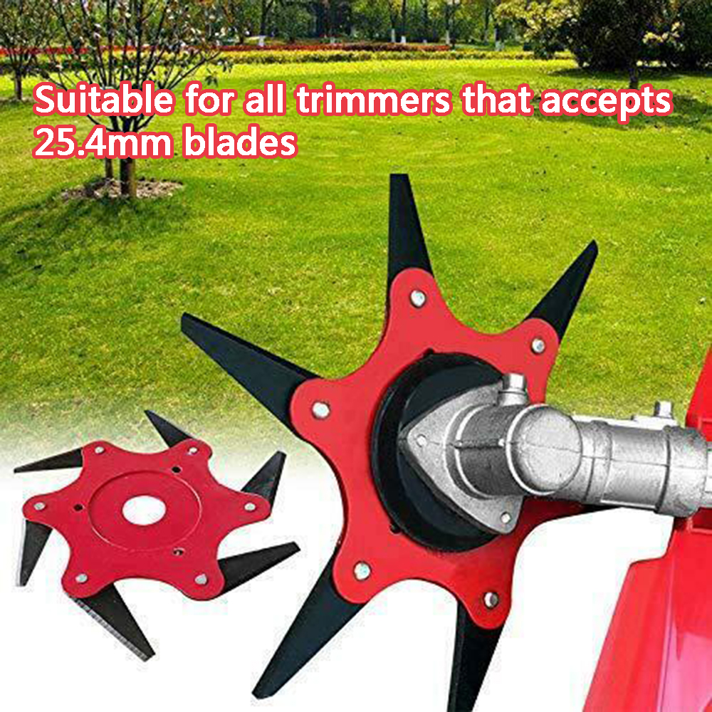 6 Teeth Steel Brush Grass Cutter Weeding Carbide Brushcutter Electric Garden Trimmer Head Strimmer Mower Blade For Lawn Mower