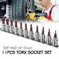 11Pcs 1/4 3/8 Inch Torx Hex Star Bit Set Security Tamper Proof Bit Driver Screwdriver Hand Tool Socket Set Bits T10 to T60