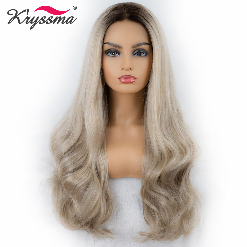 Blonde Ombre Wigs for Women Long Synthetic Lace Front Wig Blonde Wavy Wig with Dark Roots