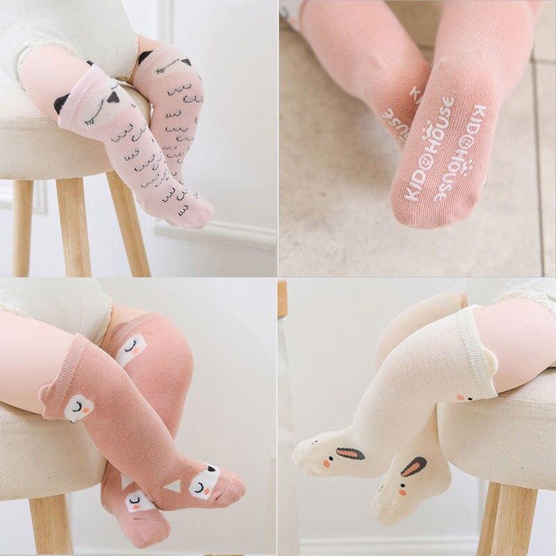 Cute Cotton Baby Socks With Ears Anti-Slip Infant Knee High Socks Newborn Animal Cartoon Print Socks