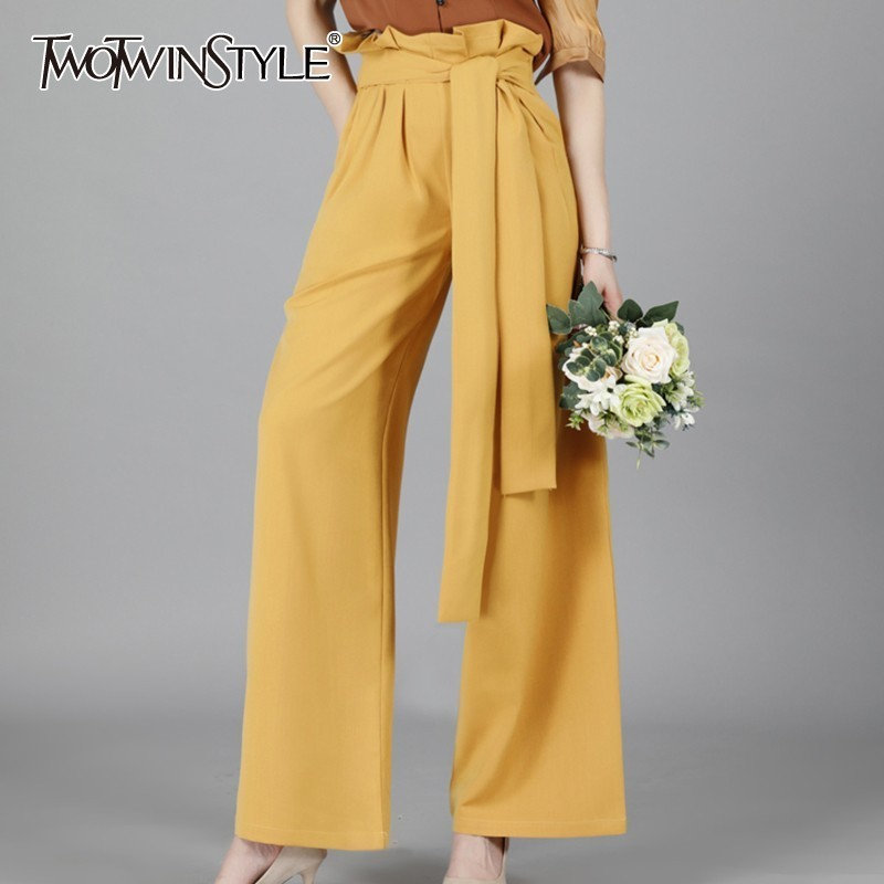 TWOTWINSTYLE Summer Casual Solid Women Trousers High Waist Ruched Lace Up   Wide     Leg     Pants   Female Fashion 2019 Elegant Tide