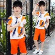 Children's Clothing Boys Summer Sports Set Cotton Print Short Sleeve T-Shirt + Shorts baby clothes