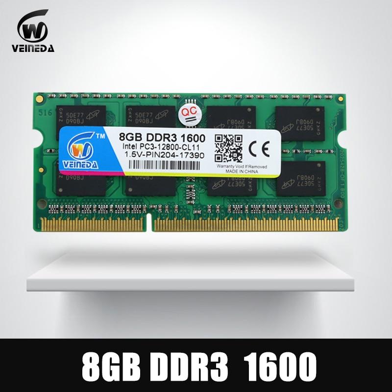 VEINEDA 8GB DDR3 Memory Ram ddr3 1600 PC3-12800 Sodimm Ram ddr 3 Comptaible 1333MHz For Laptop veineda memoria ram ddr3 8gb 1600 ram memoria ddr3 1333mhz for intel amd sodimm ddr3 8gb pc3 12800 204pin