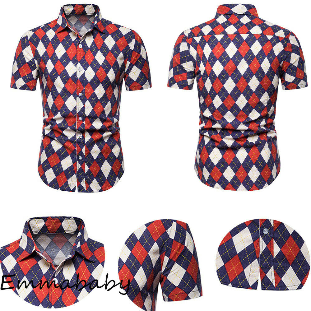 Fashion Mens Casual Button-Down Shirts Shirt Mens Plaid Short Sleeve Shirts Tops