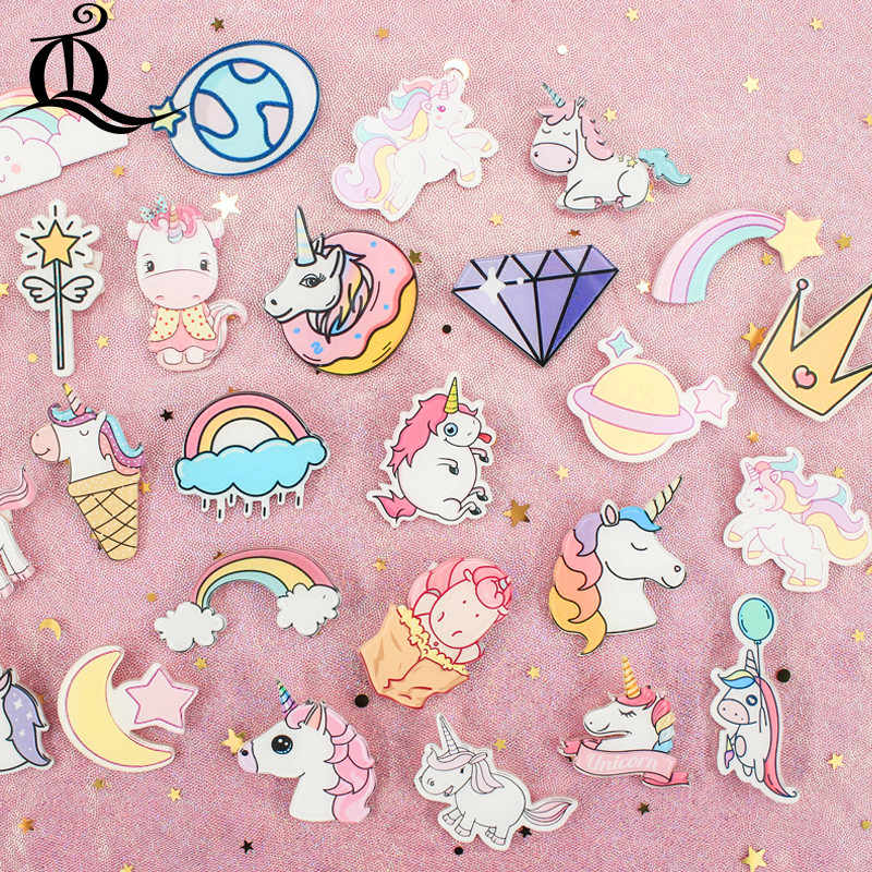 1PCS roze Eenhoorn Shirt Leuke Cartoon broche Acryl cartoon Badge Pinnen Bag Packbag Decoratie Schilderen Volkeren Broche Broch, z41