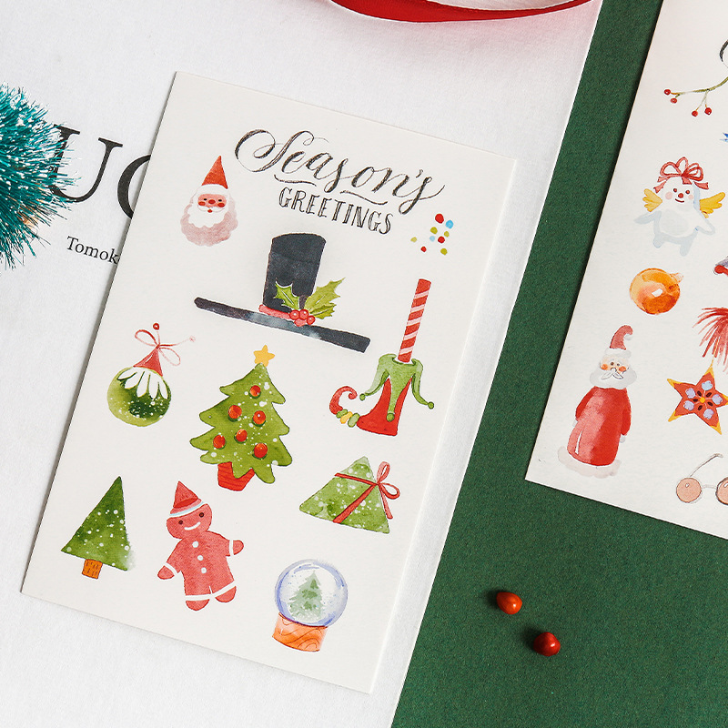 30Sheets/Pack Merry Christmas Postcards DIY Gift Cards Christmas Theme Paper Cards Cute Stationery