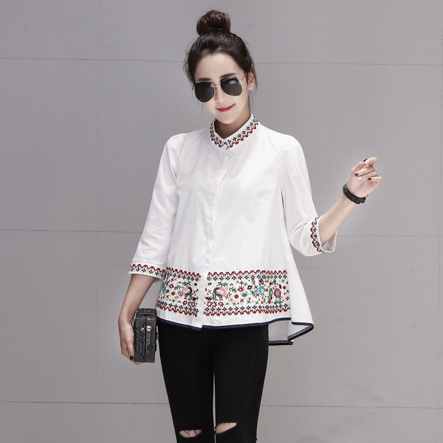 2019 New Spring Women Shirts Three Quarter Sleeve Stand Neck Babyps Embroidered A Word Blouse Shirt White 5335