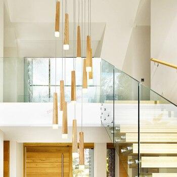 Modern İskandinav oturma odası katı ahşap LED merdiven avize. Ana yatak odası ışık yol açtı. Uzun avize oda.