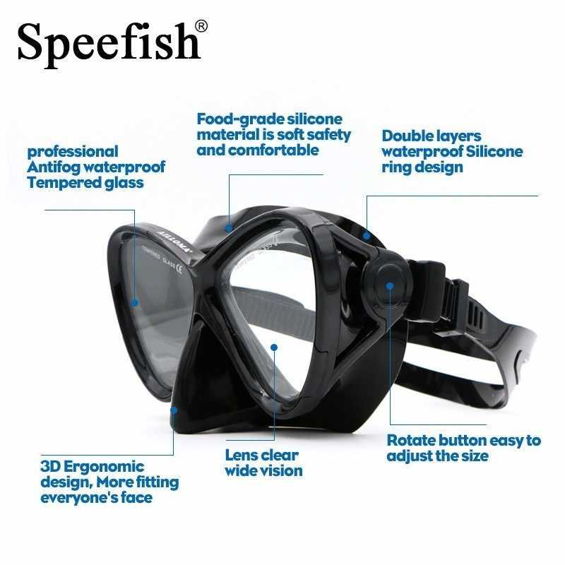 Speefish Brede Visie Duikbril Scuba Onderwater Anti Fog Zwemmen Bril Zwart Siliconen Snorkelen Set Voor Volwassenen Goggles