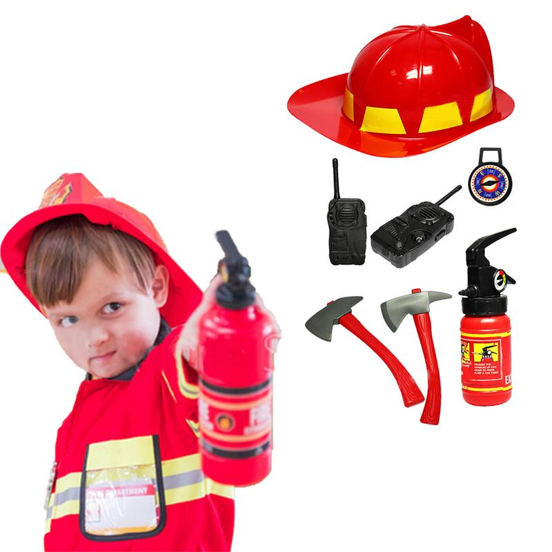 Fireman Sam Kids Simulation Costumes Suit For Girl Boy Party Uniforms Set Toy Firefighter Funny Adjustable Hat