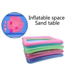 Kids Indoor Inflatable Sandbox Large Castle Sand Box Tray Form Table Toys sand tray play with space sand(China)