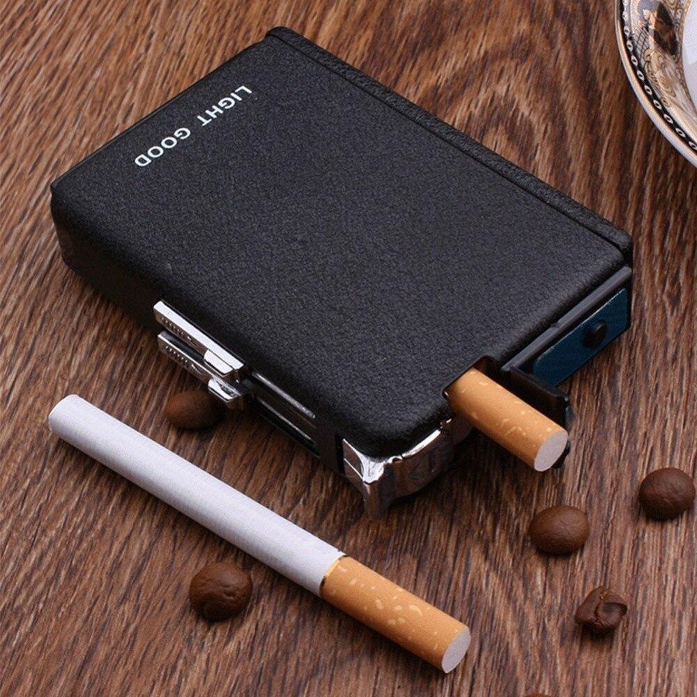 Caja de cigarrillo de encendedor de eyección de butano a prueba de viento de Metal titular de la caja de casa al aire libre fumar cigarrillos caso No de combustible de Gas