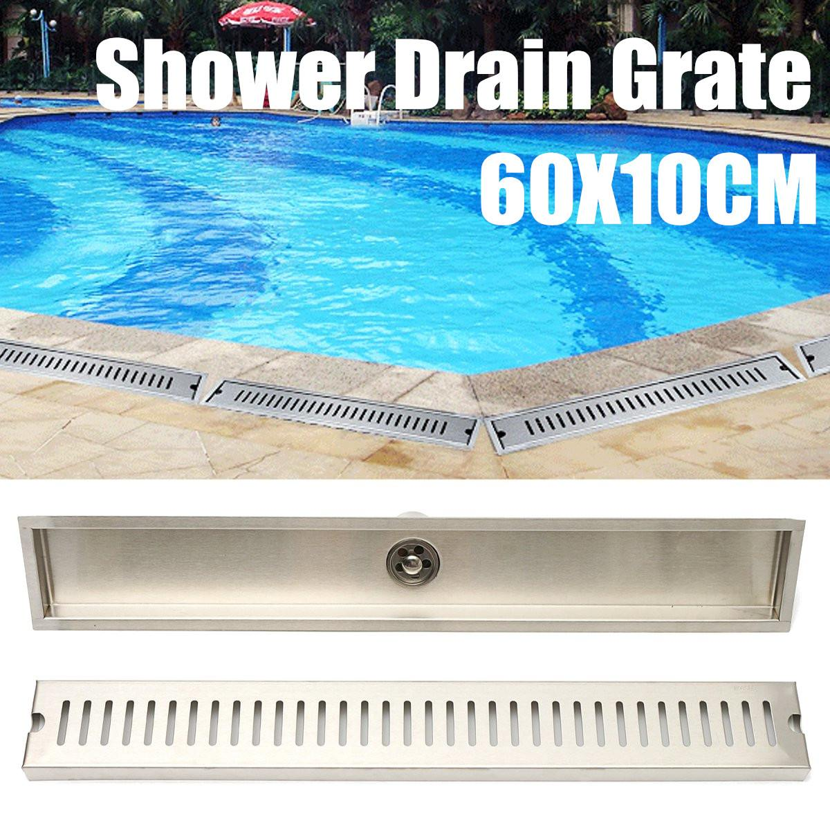 цена на 60x10CM Floor Drain Cover Rectangle 304 Stainless Steel Shower Drain Bathroom Floor Grate Drain Linear Floor Drain