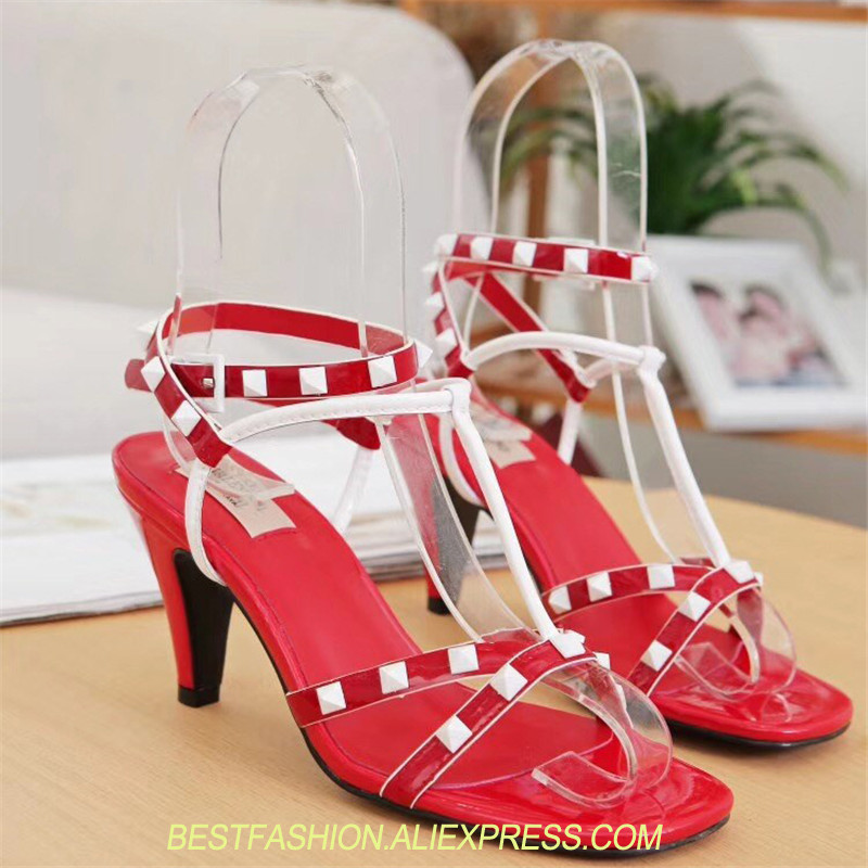 sexy gladiator sandals women high heels ankle strap cross tied rivets studded summer shoes women sapato feminino Luxury Brandsexy gladiator sandals women high heels ankle strap cross tied rivets studded summer shoes women sapato feminino Luxury Brand