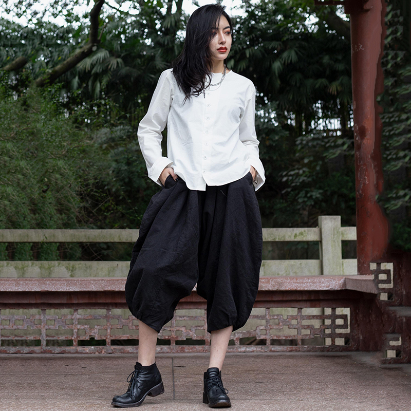 Personalidad Harén Nueva De 2019 pantorrilla Moda Irregular Primavera eam 1c105 Mediados Sueltos Pantalones Elástica Cintura Verano Las Mujeres Black qgH8wAC