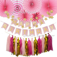8a374744d8 First Birthday Girl Party Decoration Supplies Bunting Banner Paper Fan Set  Tassel Garland For First Communion