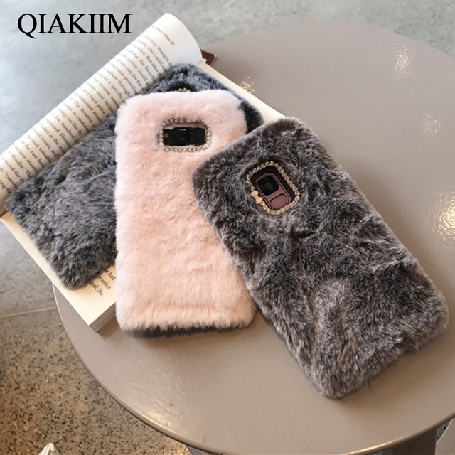 hot sale online aa60d 1f5d0 US $3.09 25% OFF|Cute Fluffy Rabbit Fur Soft Phone Case For Samsung Galaxy  S9 S8 Plus S7 edge Note 8 9 5 J3 J5 J7 2017 J8 2018 Cover for iPhone 6-in  ...