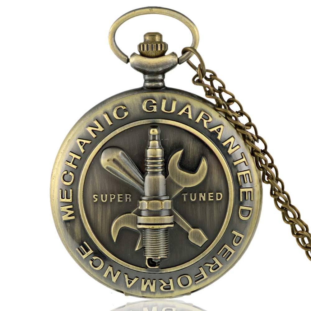 Vintage Bronze Mechanic Guaranteed Performance Quartz Pocket Watch Men Women Necklace Pendant Clock Gifts