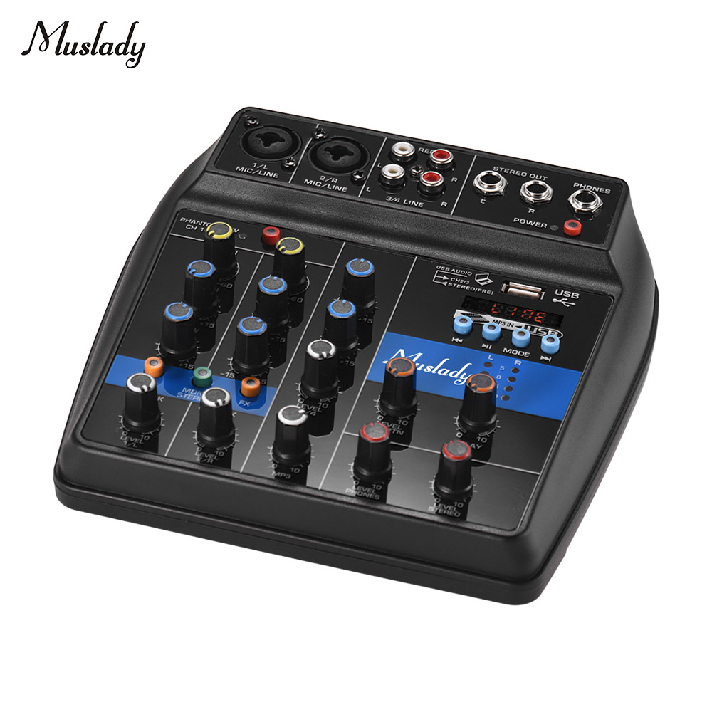Muslady S-1 4-Channel Mixing Console Digital Audio Mixer Built-in Reverb Effects +48V Phantom Power 2-band EQ DC 5-12VMuslady S-1 4-Channel Mixing Console Digital Audio Mixer Built-in Reverb Effects +48V Phantom Power 2-band EQ DC 5-12V