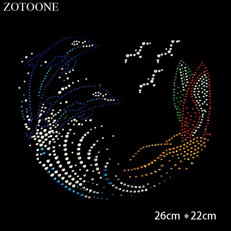 ZOTOONE  Iron on Patch Crystals Rhinestones Applique Clear Hotfix Rhinestone Stickers for Clothes Hot Fix Strass Decoration E
