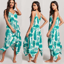 Купить с кэшбэком Hot Sale 2019 New Style Women Summer  Chiffon Party Evening Beach Dresses Long  Dress Sundress Blue Green Floral Pretty