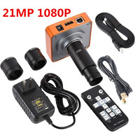 Microscope Sets HD 21MP 1080P 60FPS HDMI FHD Video Digital Industrial Microscope Camera 0.5X Electronic Eyepiece Remote Control
