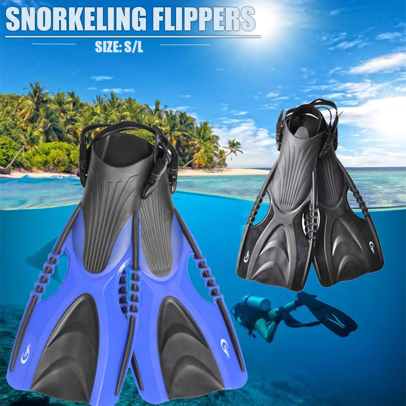 Adjustable Long Fins Swimming Shoes Flippers Open Heel Diving Submersible Snorkeling Shoes For Adult