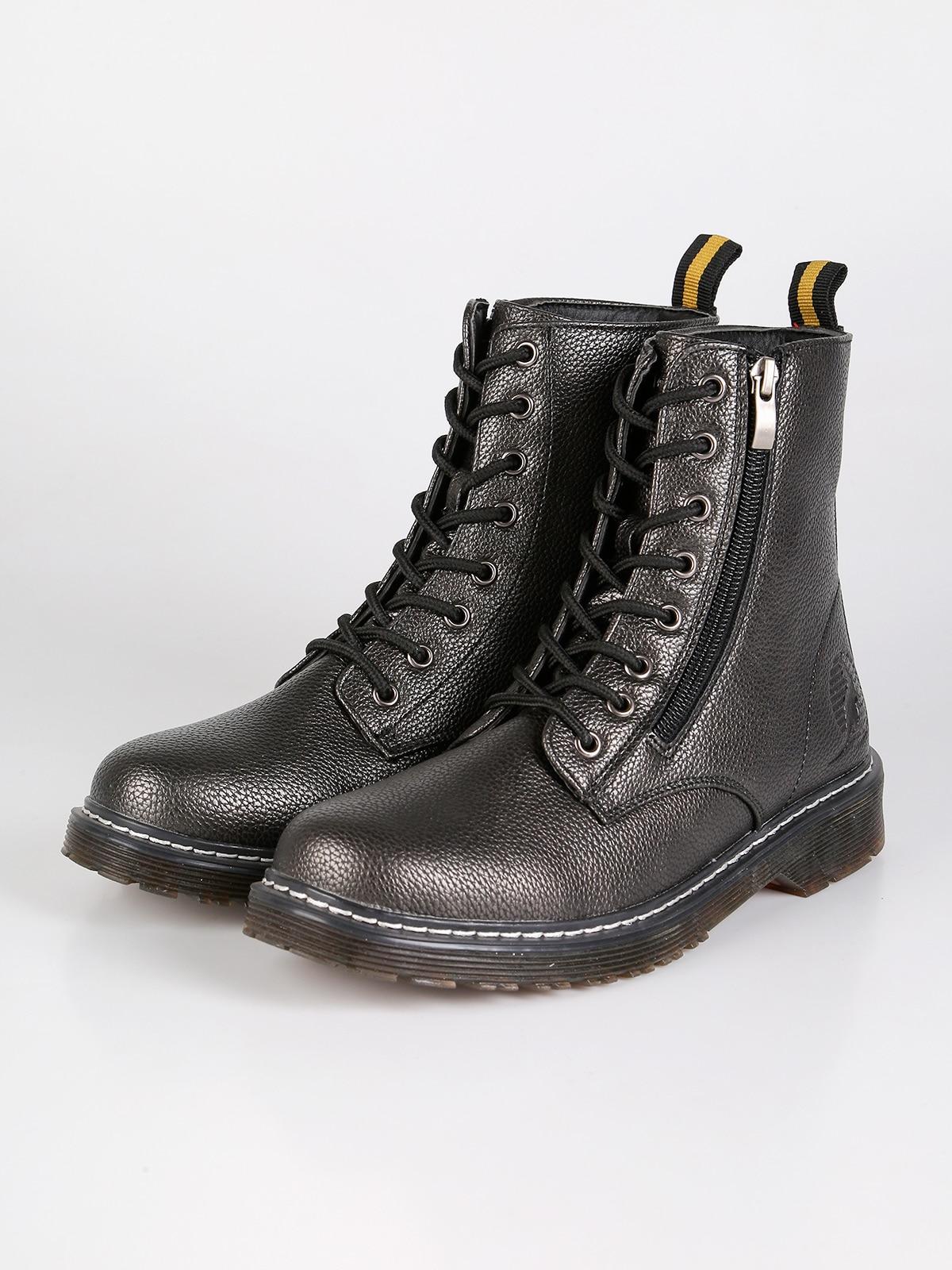 En Boots Faux Cuir Effet Militaires Métallique QreWBoECdx