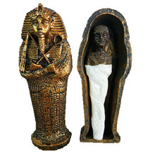 Resin Egypt Mummy Figurine Model Statue Miniature Egyptian King Sandplay Decor Miniature Model Home Decoration(China)