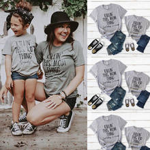 Fashion Mother daughter T shirt Family Matching Clothes Women Kid Girls Casual Summer Letter Print T shirt elegant playa Clothes(China)