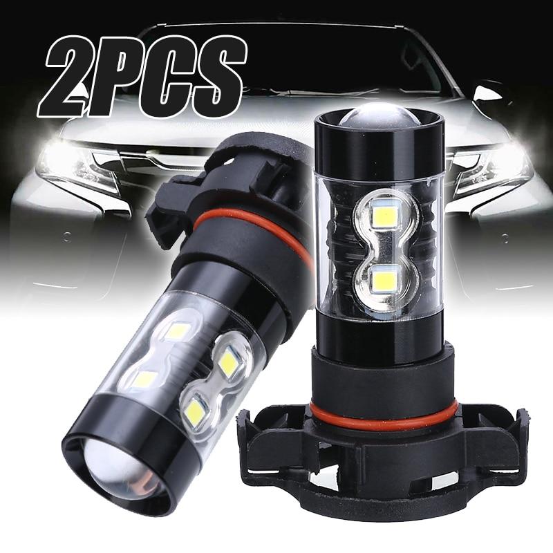 Mayitr-bombilla de alta potencia para correr, 2 uds., PSX24W 2504 50W, Luz antiniebla LED de coche, 6000K, blanco