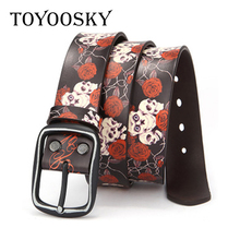 Harajuku Punk Women Men Belt Genuine Leather Rose Hup Skull Black Waist Strap For Red