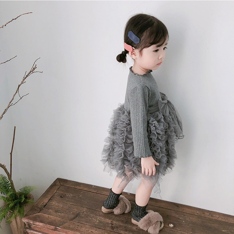 2019 Cotton Long Sleeve Knitted Kids Dresses For Girls Toddler Clothing Baby Girl Drees Tulle Patchwork Grey Pink White Spring 3
