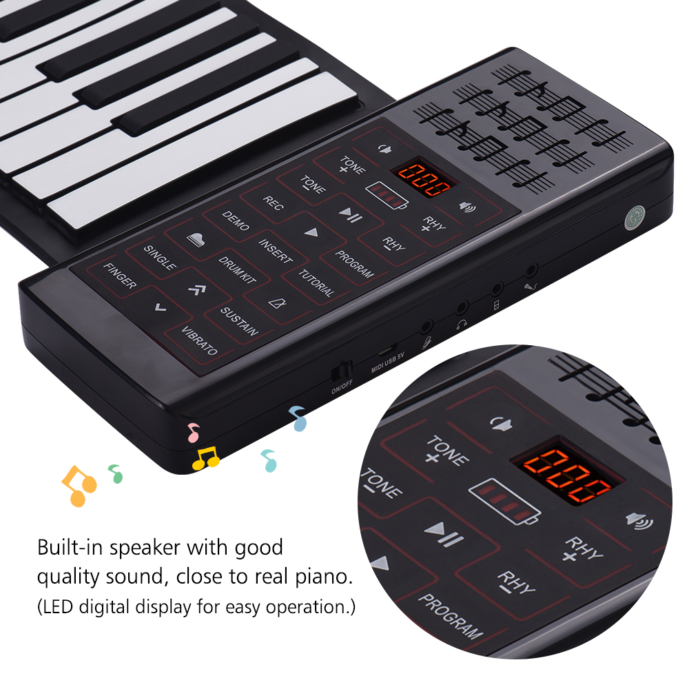 Image 4 - Portable Electric 88 Keys Hand Roll Up Piano Multifunction Digital Piano Keyboard Built in Speaker Rechargeable Lithium BatteryElectronic Organ   -