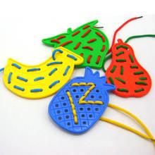 Фрукты дети шнуровка резьба Дети младенческой головоломки деревянные игрушки