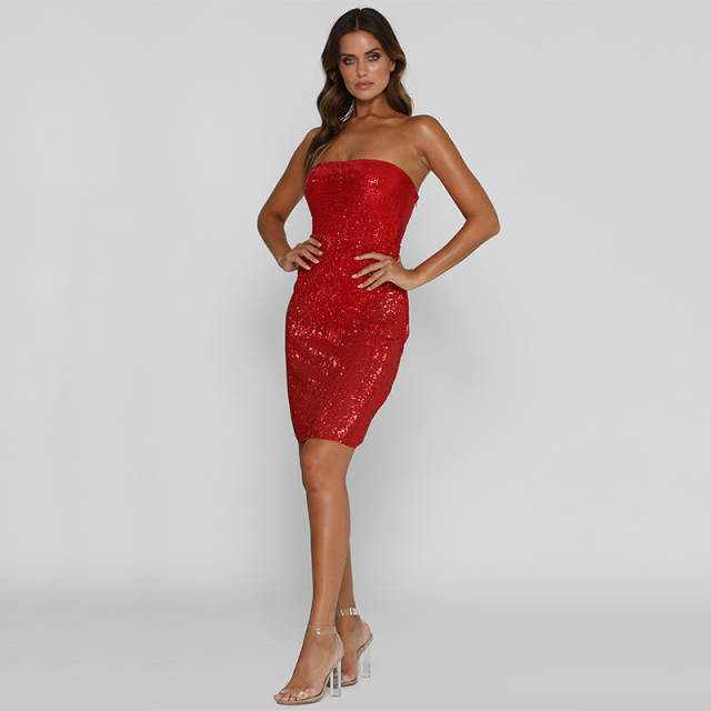 a7fb294194 Tobinoone New Women Party Dresses 2018 Summer Elegant Evening Sexy Sequin  Strapless Dresses Off The Shoulder Bodycon Dress