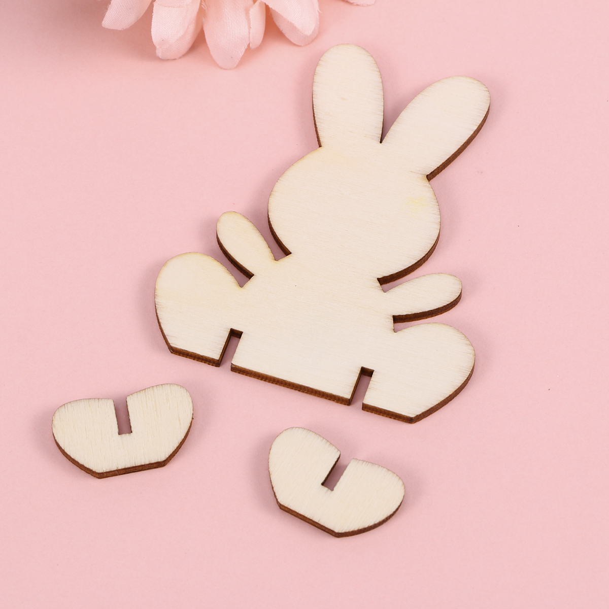 Us 608 40 Off10 Pcs Easter Rabbit Pieces Diy Lovely Wooden 3d Creative Home Decor Bunny Ornament Embellishments Cutouts Craft In Wood Diy Crafts
