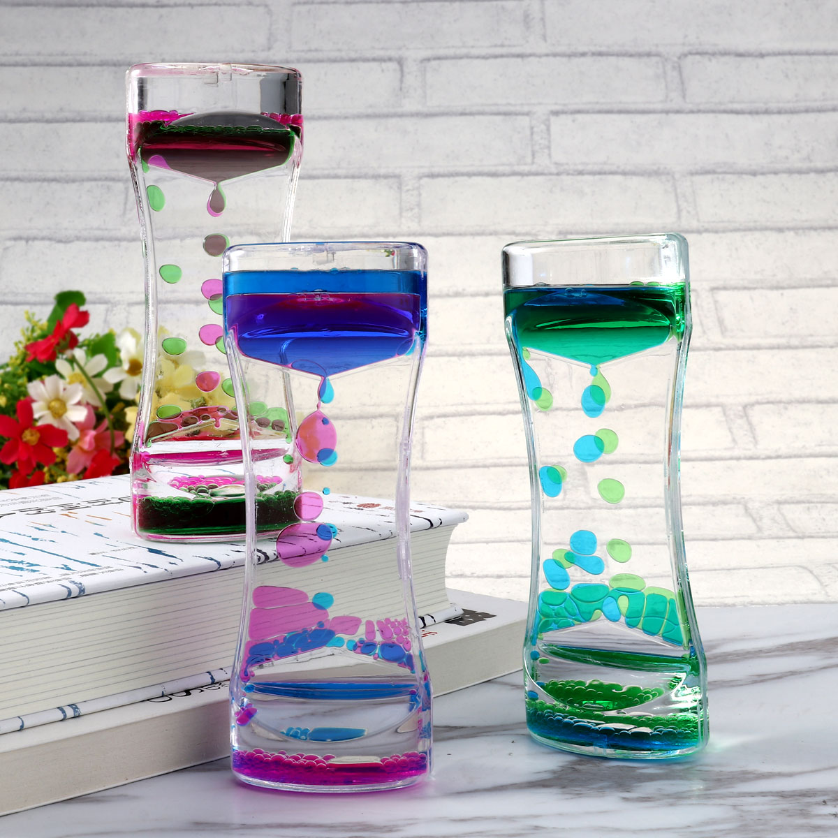 Clocks Official Website Bestomz 3pcs Double Colors Oil Hourglass Liquid Motion Bubble Timer With Pretty Waist Desk Decor Birthday Gift Children Toy