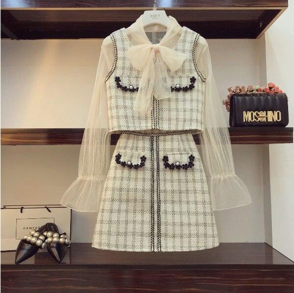 Gaze Mode Dames Gilet Automne Haute 3 Treillis Jupe En Beige Blouse Pièce A Rétro Costumes Coupe Taille Élégant 2018 Perspective q1WFnWx