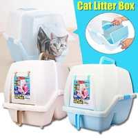 All Enclosed Plastic Cat Bedpans Cat Toilet Training Kit Litter Box Puppy Reusable Cat Litter Mat Pet Cleaning Training Supply
