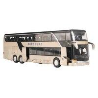 Модель автобуса из сплава 1:32, высокая имитация, двухэтажный автобус, мигающая игрушка, автомобиль, детская игрушка, звук и свет
