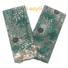 Green African Lace Fabric with Velvet Glitter Gold Nigerian Fabrics 2019 Embroidery Net Beaded French for Dress