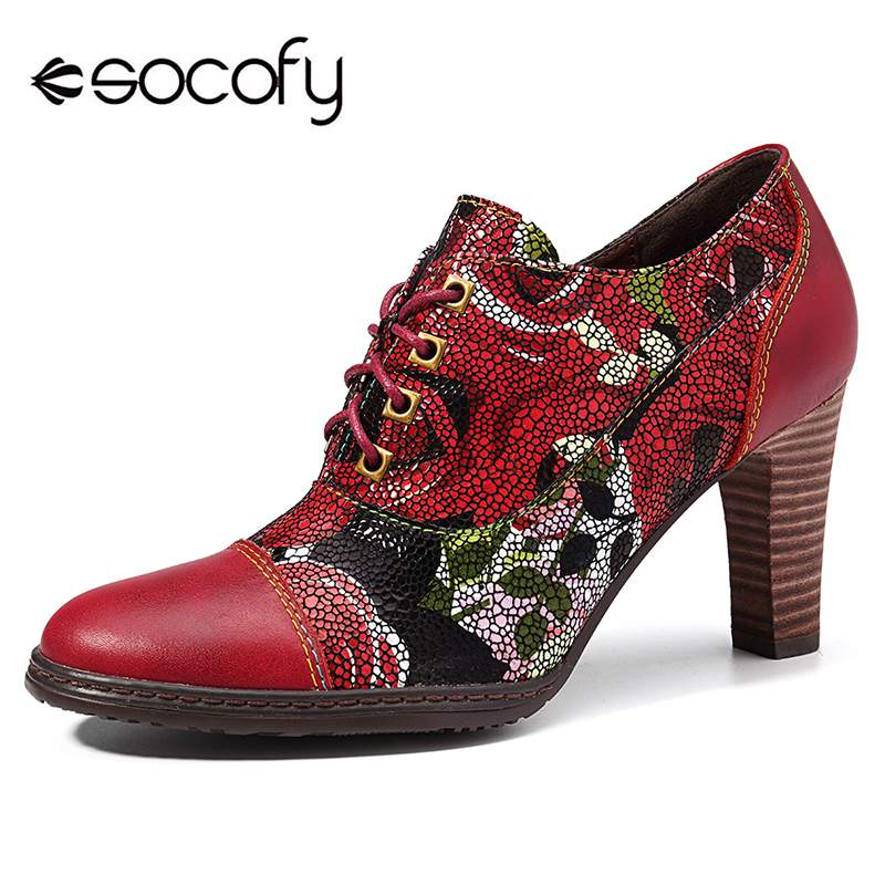 SOCOFY Stylish Bloom Flowers Genuine Leather Splicing Stitching Lace Up Zipper Soft High Heel Pumps 8cm Ankle Boots Zipper Boots