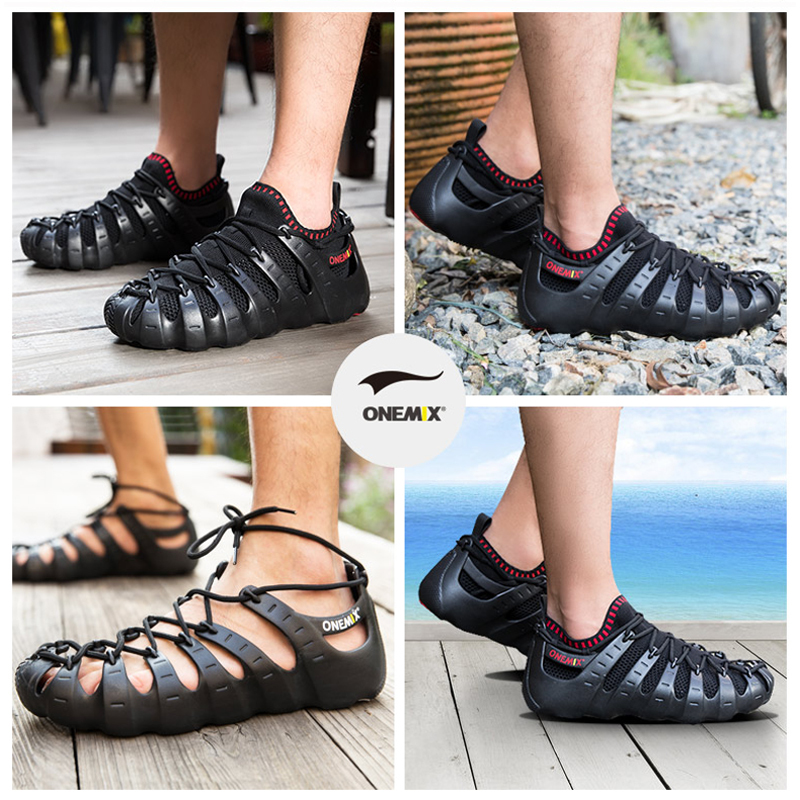 ONEMIX 2019 verano nuevos hombres mujeres Roma zapatos casuales sandalias transpirables calzado para caminar zapatillas ligero de secado rápido interior Yoga calcetín - 4
